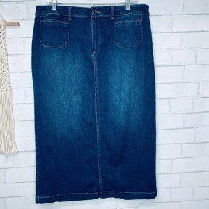 Denim midi straight skirt modest stretch 12 trendy